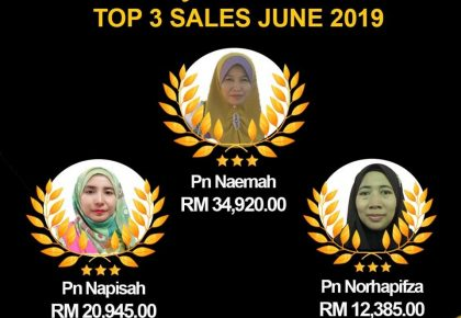 TAHNIAH.. TOP 3 SALES JUNE 2019!
