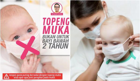 Pakar Kanak-Kanak Jelas Anak Umur 2 Tahun Ke Bawah Tak Perlu Pakai Face Mask, Bahaya!